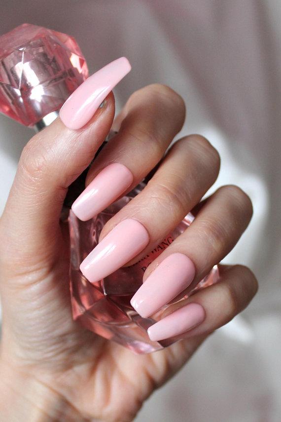 Press On Light Pink Nails Fake Coffin Stiletto Round Square Nails