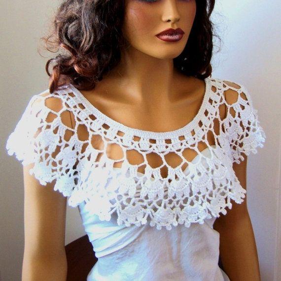 Blanco Shrug del Bolero Crochet novia blanco abrigo Bolero ...