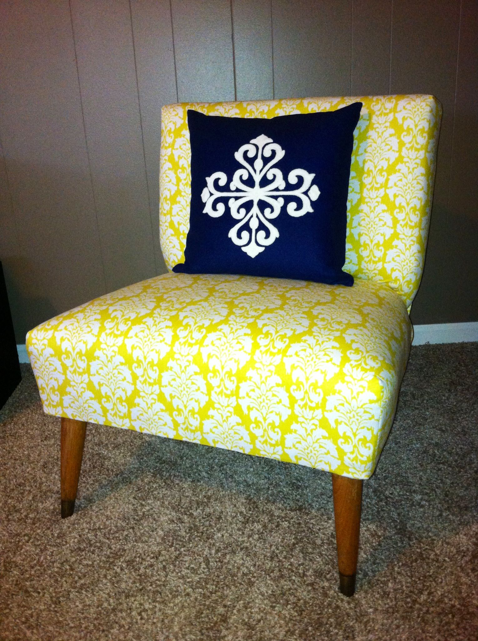 Where To Get Chairs Reupholstered Vintage Desk Armless Accent Chair With Yellow Floral Fabric For