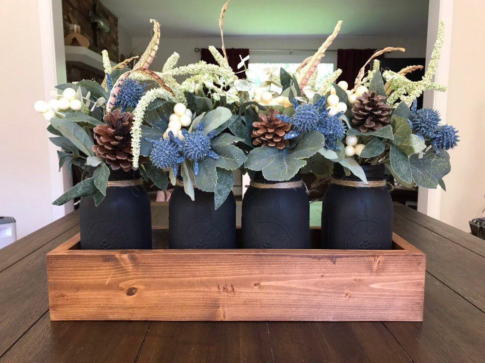 Mason Jar Centerpiece Dining Room Centerpiece Floral Arrangements Rustic Centerpiece Table Decor Farmhouse Rustic Wedding Decor Greenery images
