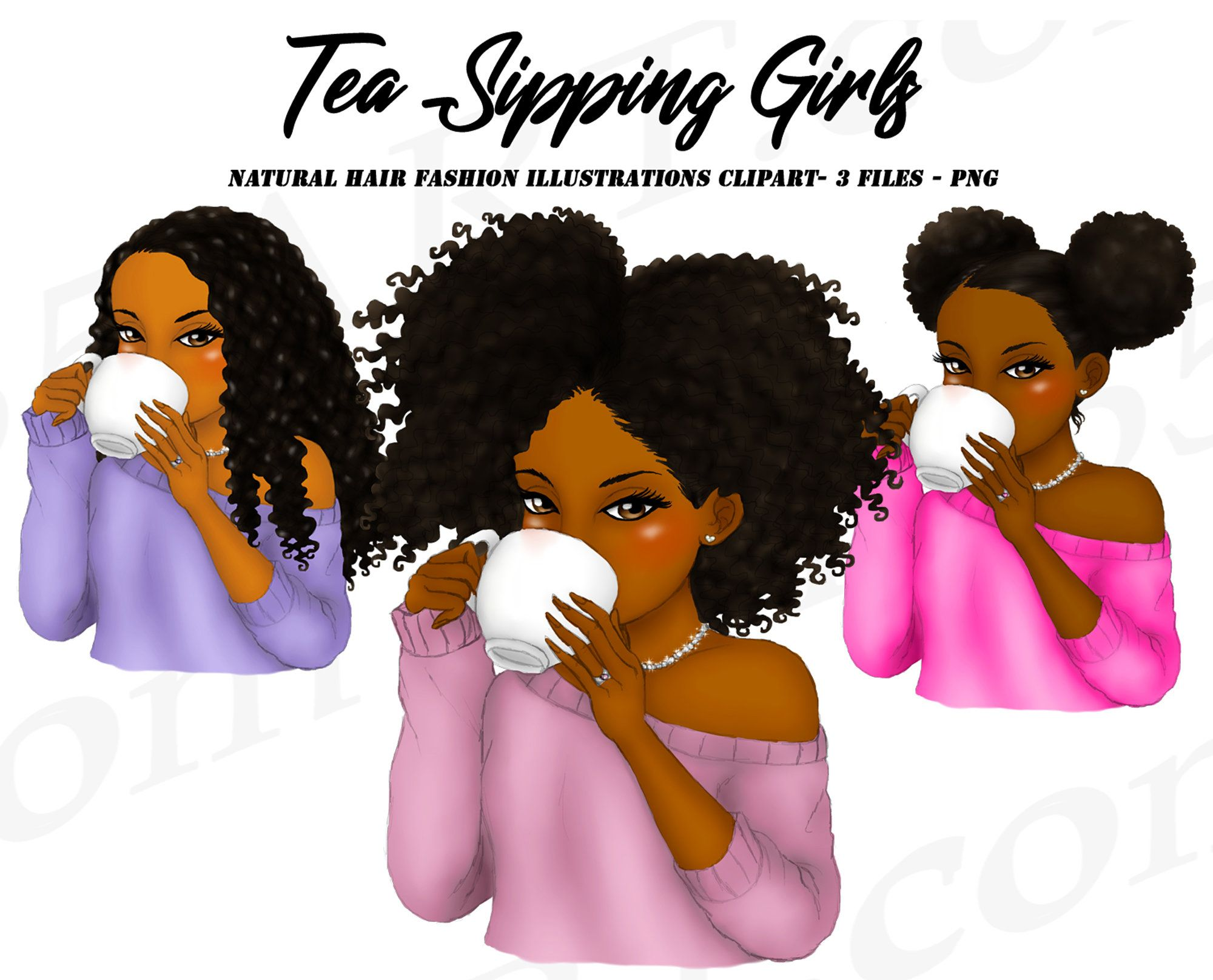 Tea Sipping Girls Clipart Black Girl Black Women Natural Hair Sips Tea Coffee Girl African American Hairstyle Glam Planner Dashboard In 2020 Girl Clipart Natural Hair Styles Girls Natural Hairstyles