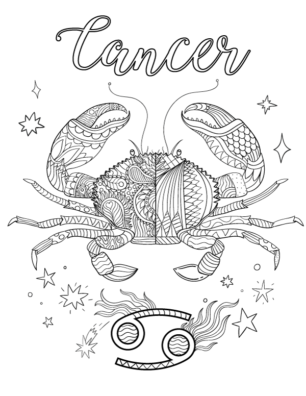Free printable zodiac adult coloring page featuring Cancer the crab ...