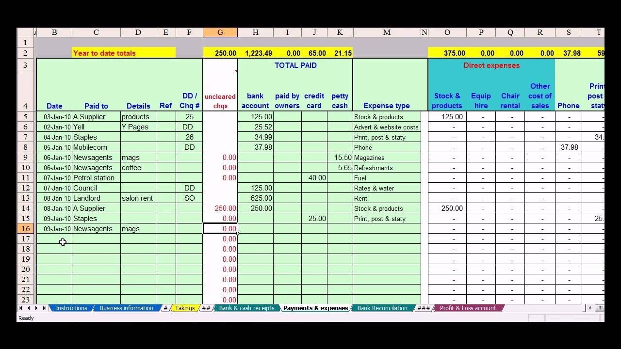 Hairdresser bookkeeping spreadsheet Bookkeeping
