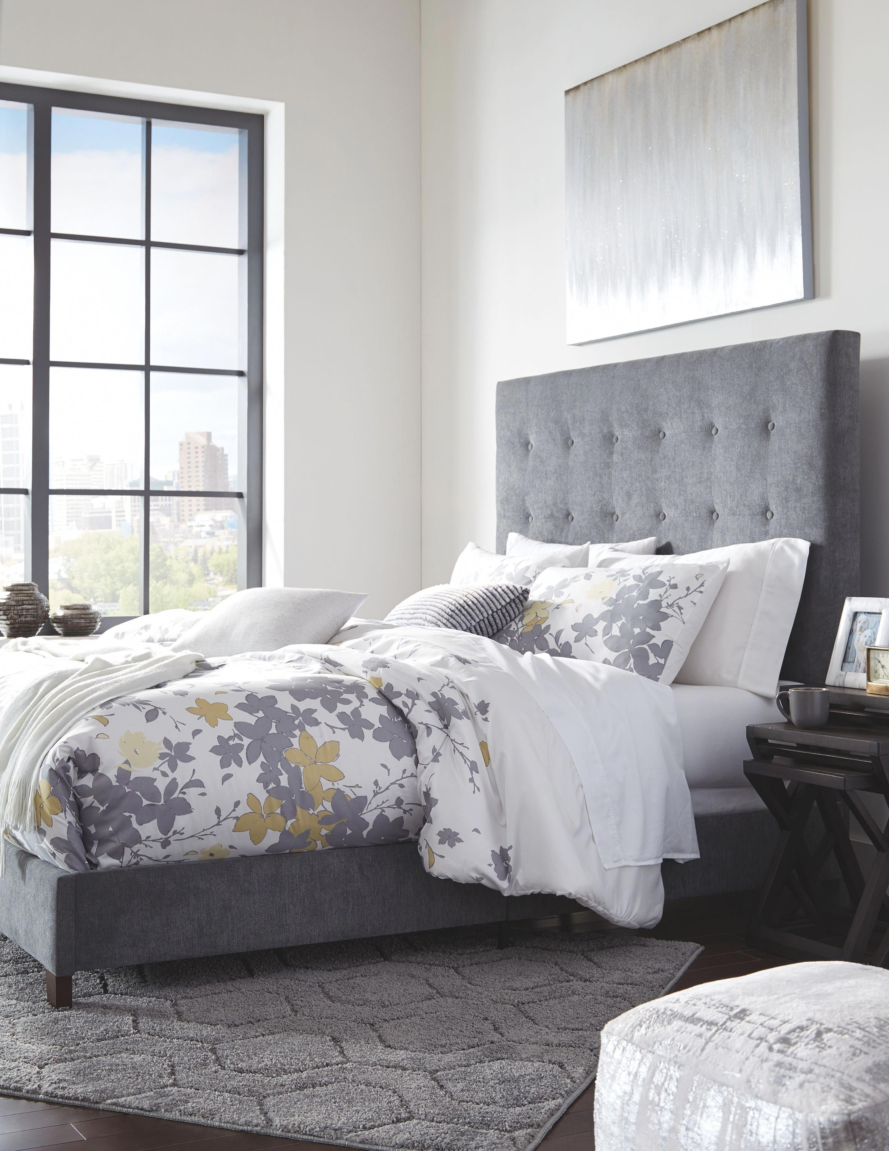 Dolante Queen Upholstered Bed, Gray bedding in 2020