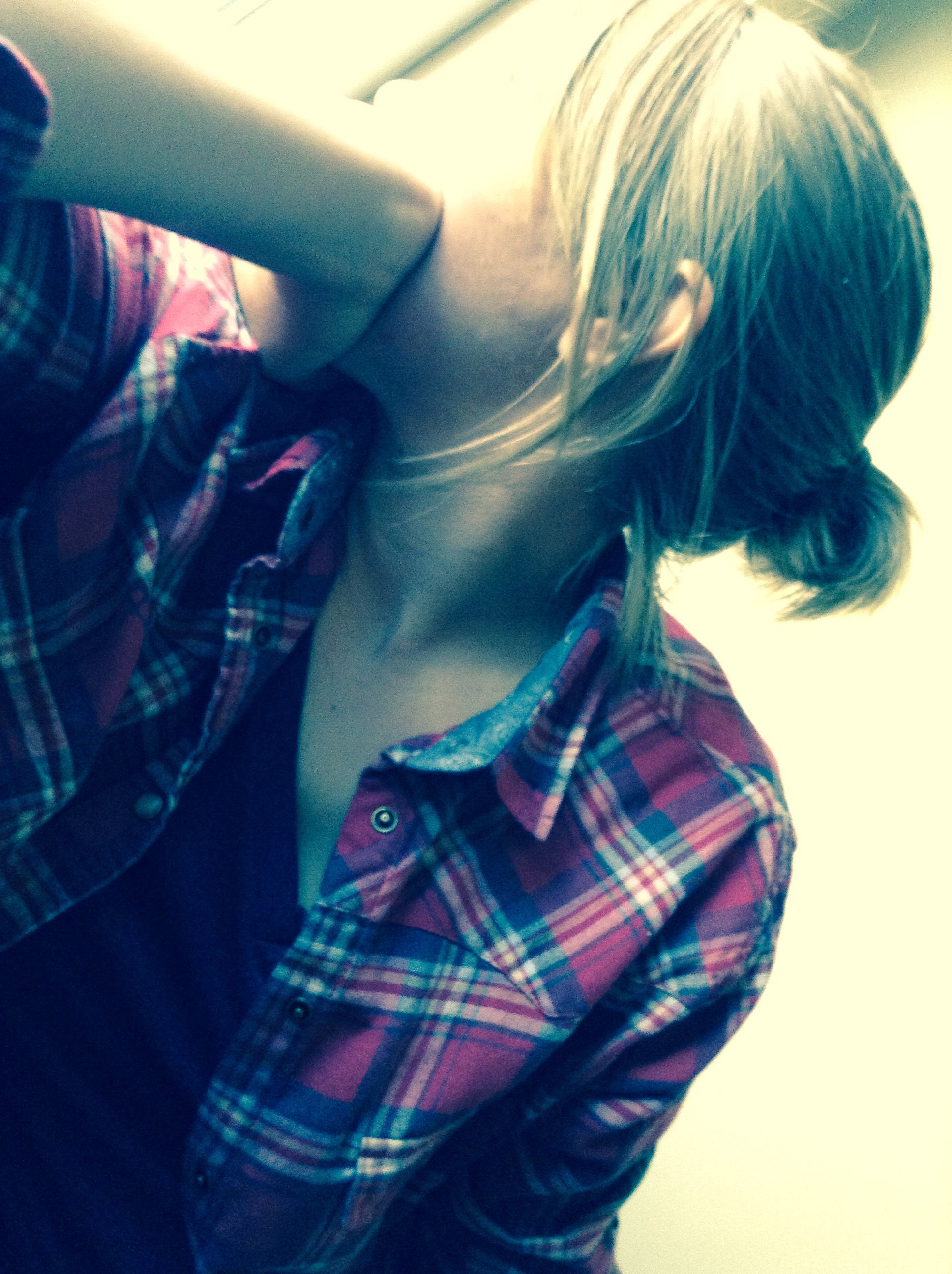 Messy hair and a Flannel