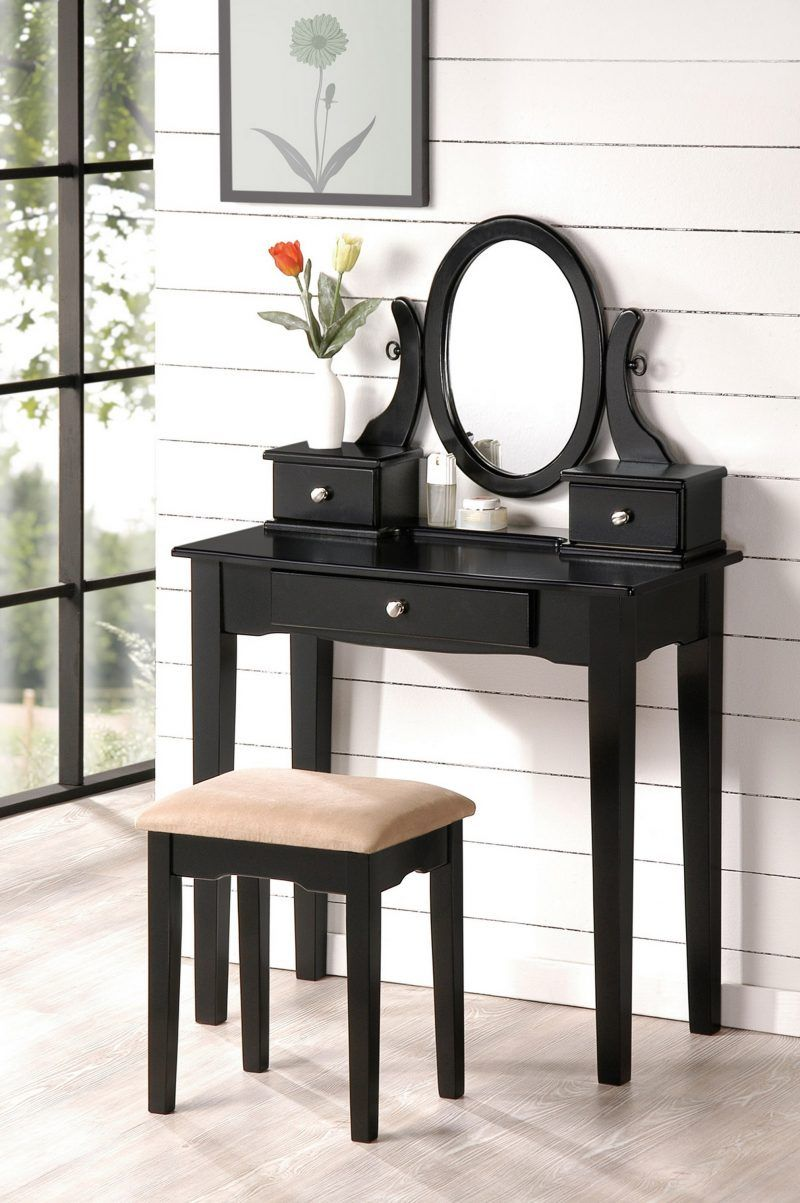 chic black vanity makeup table, makeup desk | Bedroom vanity ...
