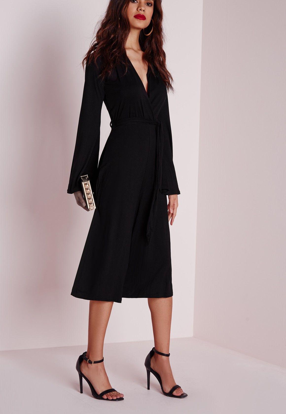 a8d5be0870 Missguided - Jersey Wrap Belt Culotte Jumpsuit Black