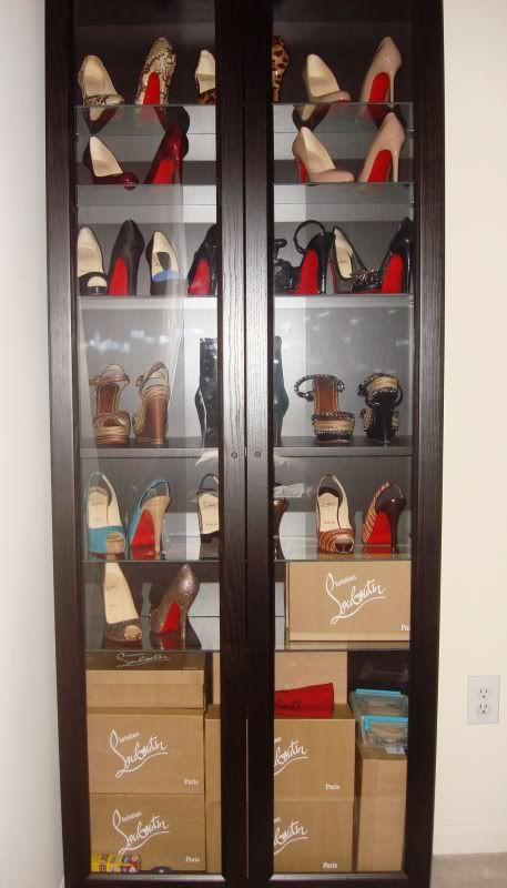 IKEA Billy Bookcase Black With Glass Doors And Glass ShelvesIt Fits 4 Pairs  On Each Shelf. I Like To Place The Right Shoe Facing Forward And The Left  Facing ...