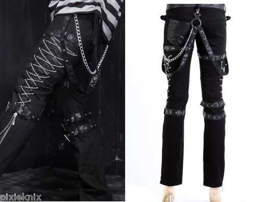 Unisex Punk Rave Chain Lace Up Trousers Visual Kei Goth Emo S M L XL XXL