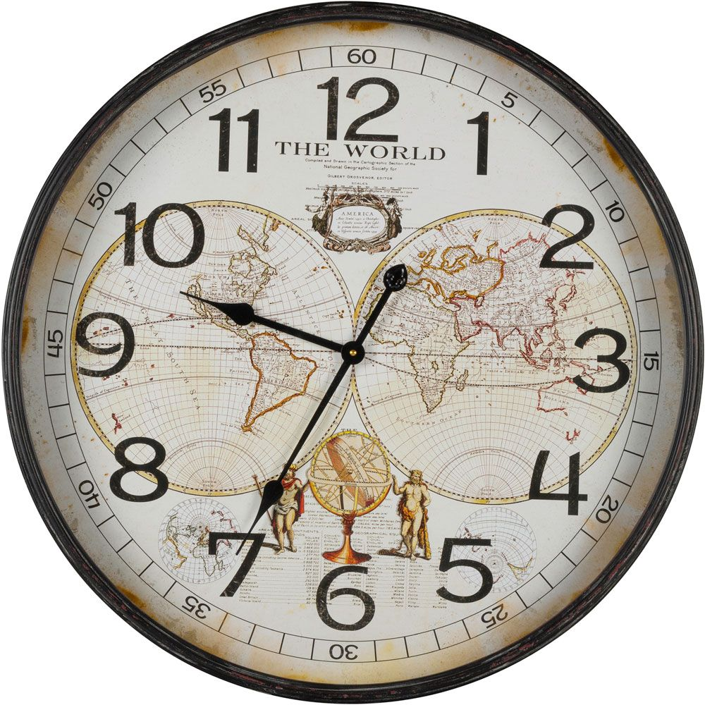 Cooper Classics World Map Clock Co 40921 World Map Wall Clock Wall Clock