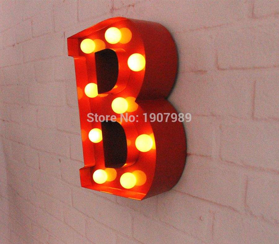 Red Metal Letters Light Led Alphabet Marquee Sign Vintage Metal