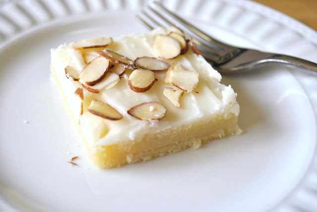 almond sheet cake w/butter frosting