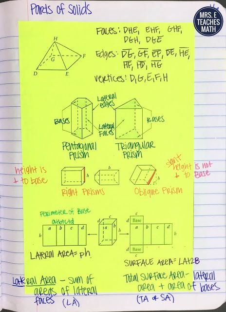 Surface Area And Volume Inb Pages With Images High School Math