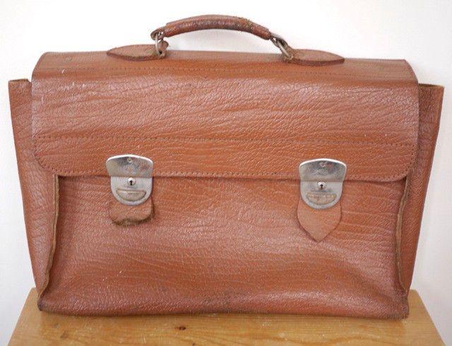 Vintage Dutch Amsterdam Cowhide Leather Briefcase Laptop ...