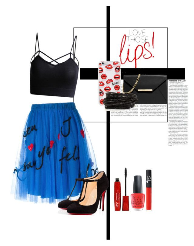 """""""Red lips"""" by xlivelifelovesmilex ❤ liked on Polyvore featuring P.A.R.O.S.H., Christian Louboutin, Sonix, OPI, NARS Cosmetics, MICHAEL Michael Kors, Pieces, women's clothing, women and female"""