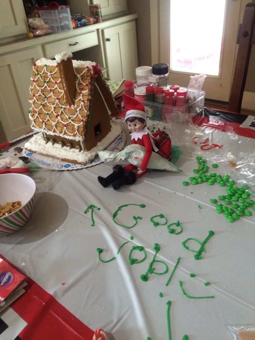 Our elf liked the gingerbread house my daughter made.