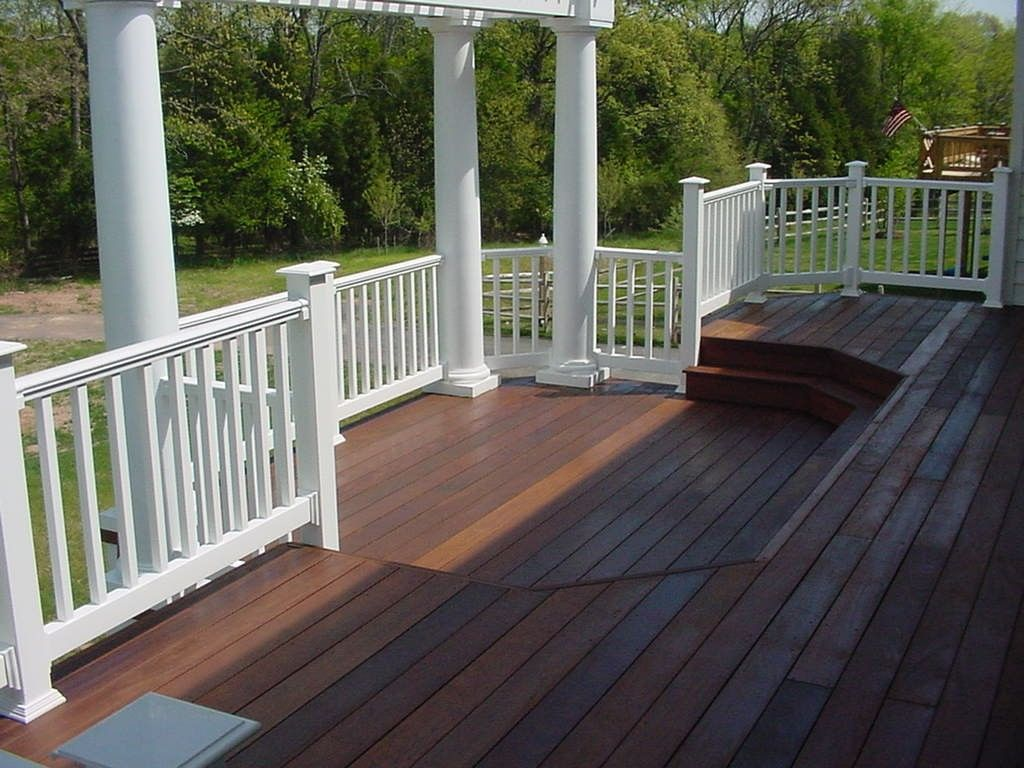 Traditional style white wood materials toronto deck for Deck design tips