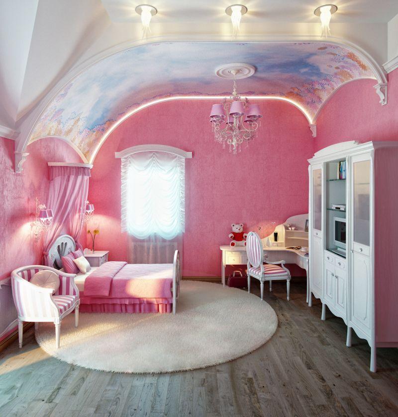 rien que pour les filles tapisserie rose princesse avec fauteuils molletonn s et vieux meubles. Black Bedroom Furniture Sets. Home Design Ideas