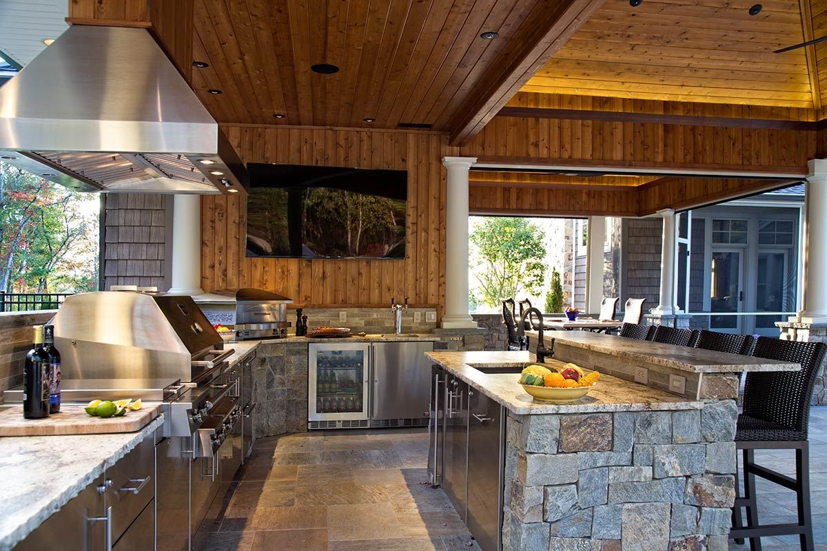 outdoor kitchen kalamazoo outdoor gourmet grill with hood on covered lanai outdoor on outdoor kitchen id=78896