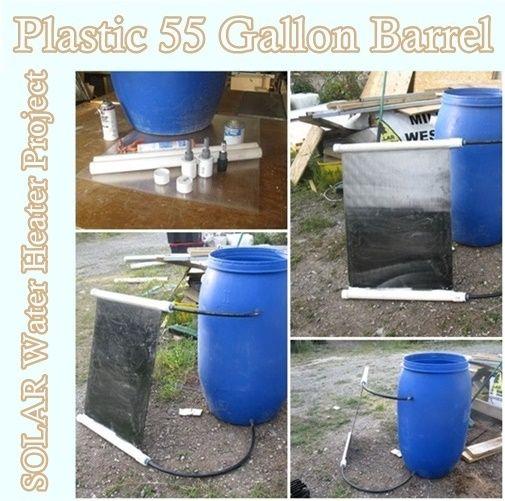 Plastic 55 gallon barrel solar water heater project for Plastic water boiler