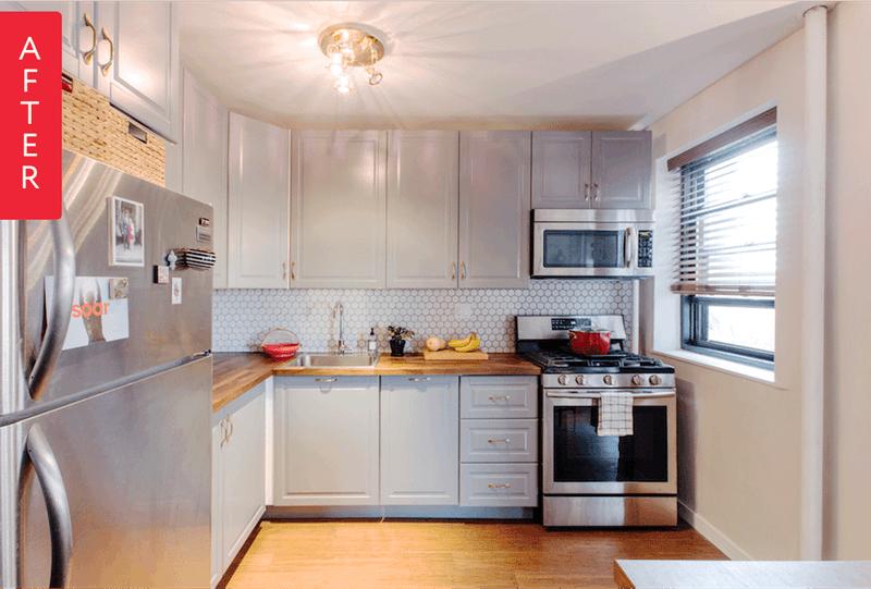 Szare szafki i drewniany blat oraz podłoga w kuchni