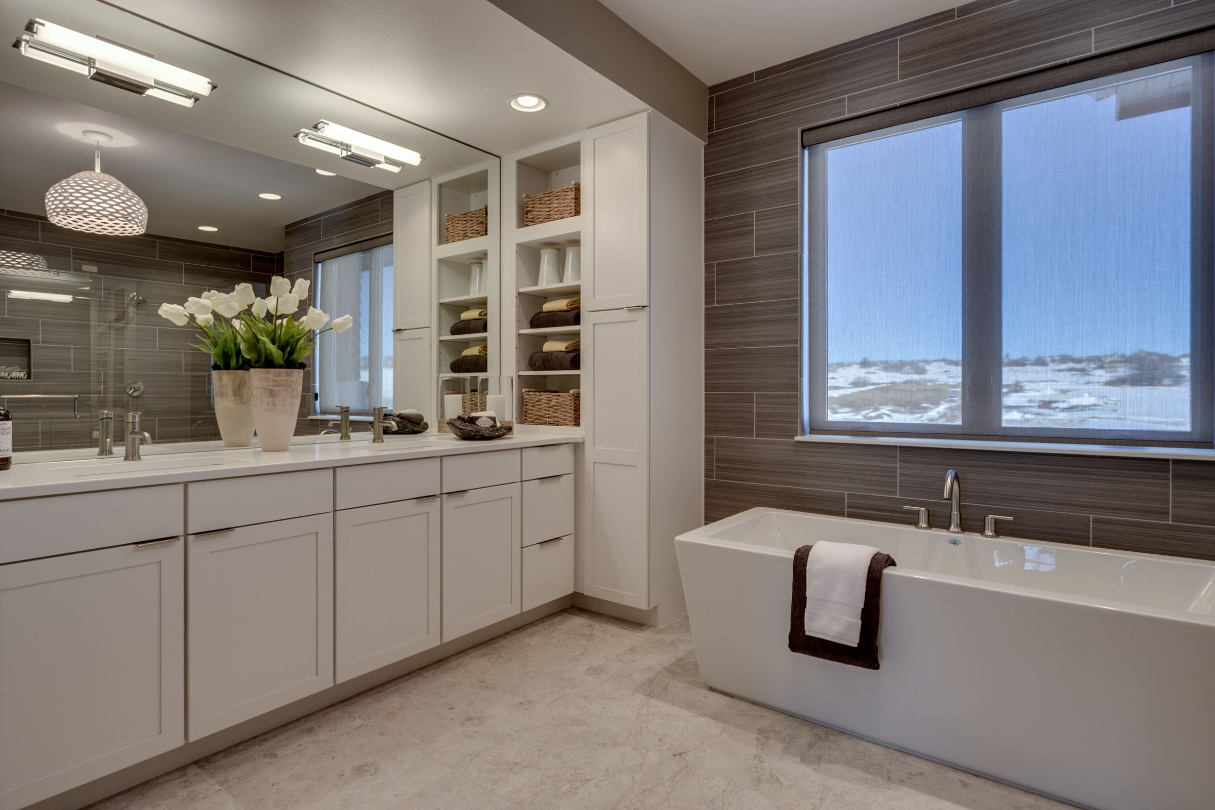 Ensuite master bathroom with large dual raised vanity and added ...