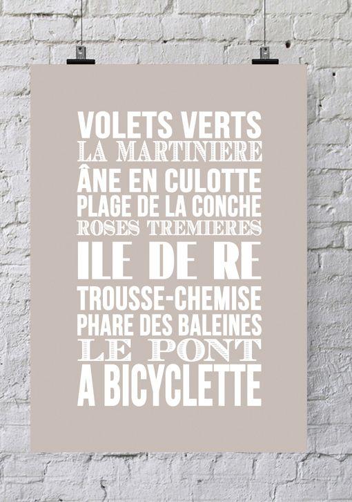 « Ré Ré Ile Mer Île »Typography Bord Affiche De eIHWD9YE2
