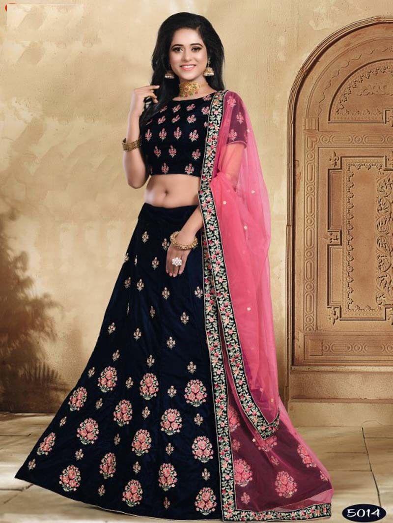 f28a196246 Indian designer Wedding Wear Blue Color Velvet Flower Buti Embroidered lehenga  choli with Pink net Border dupatta