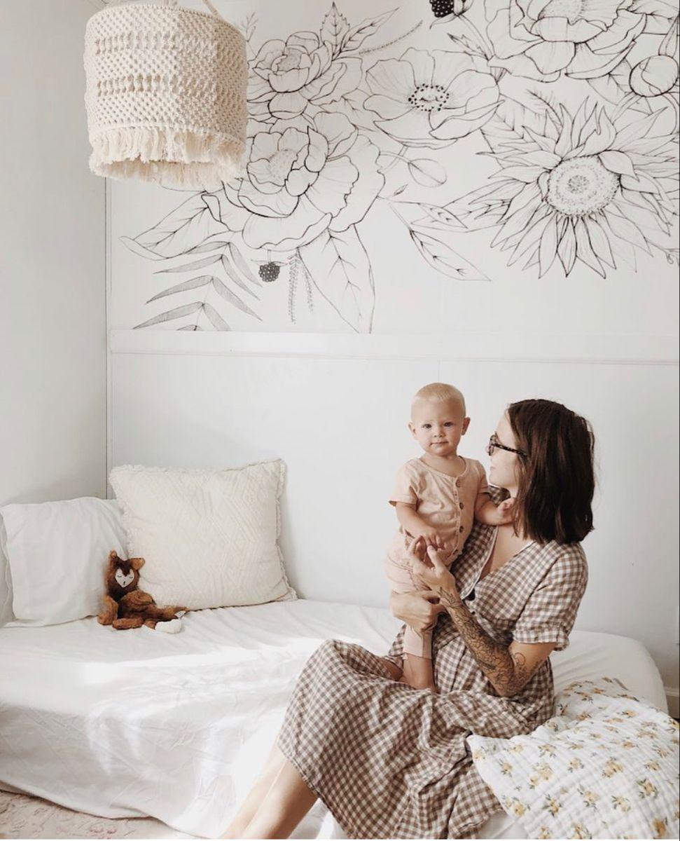Blooming Garland Mural Nursery Wallpaper Wallpaper Bedroom Bohemian Bedroom