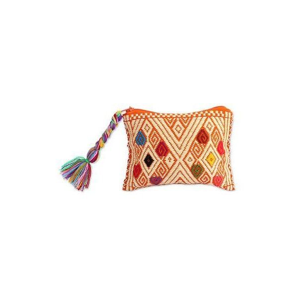 1f0e597a7ec3 NOVICA Hand Woven Cotton Coin Purse Orange Rhombus Motifs Mexico ...