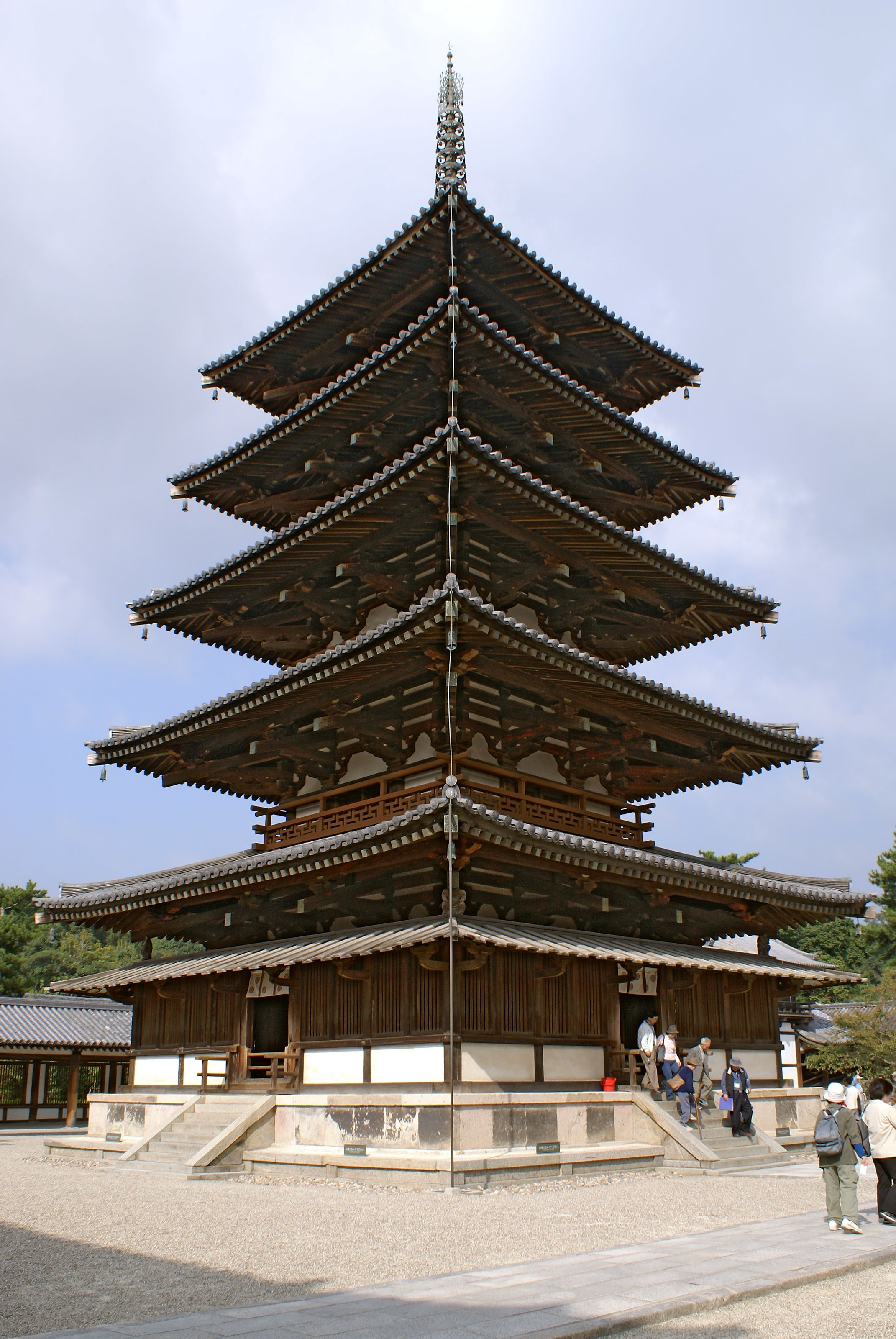 wooden five story pagoda of hōryū ji in japan built in the 7th