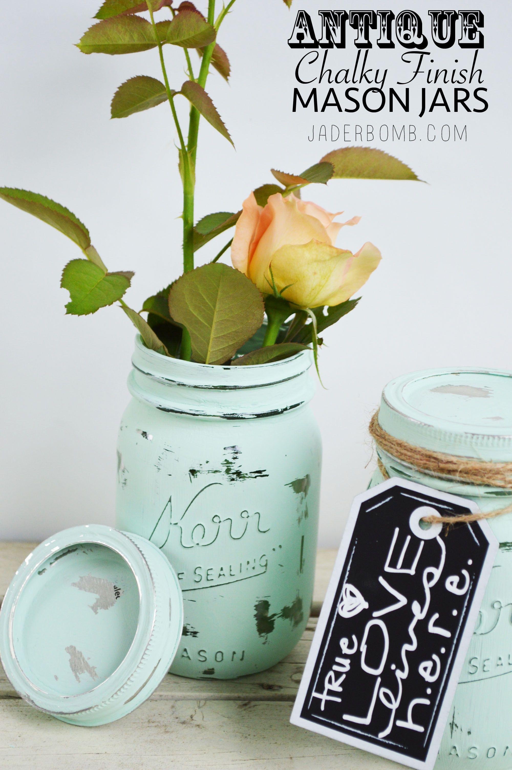 Antique Chalky Finish Mason Jars – Michael's Makers via www.jaderbomb.com #michaelsmakers