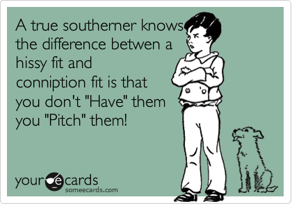A True Southerner Knows The Difference Betwen A Hissy Fit And