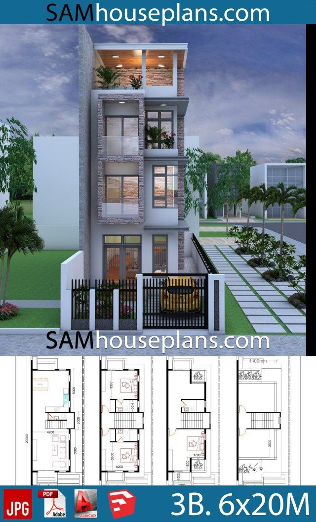 House Plans 6x20 with 3 Bedrooms is part of Architectural house plans, Narrow house plans, Small house design plans, Narrow house designs, House plans, Small house design - We give you all the files, so you can edited by your self  or your Architect, Contractor  In link download ground floor, first floor, elevation jpg, 3d photo Sketchup file Autocad file (All Layout plan)
