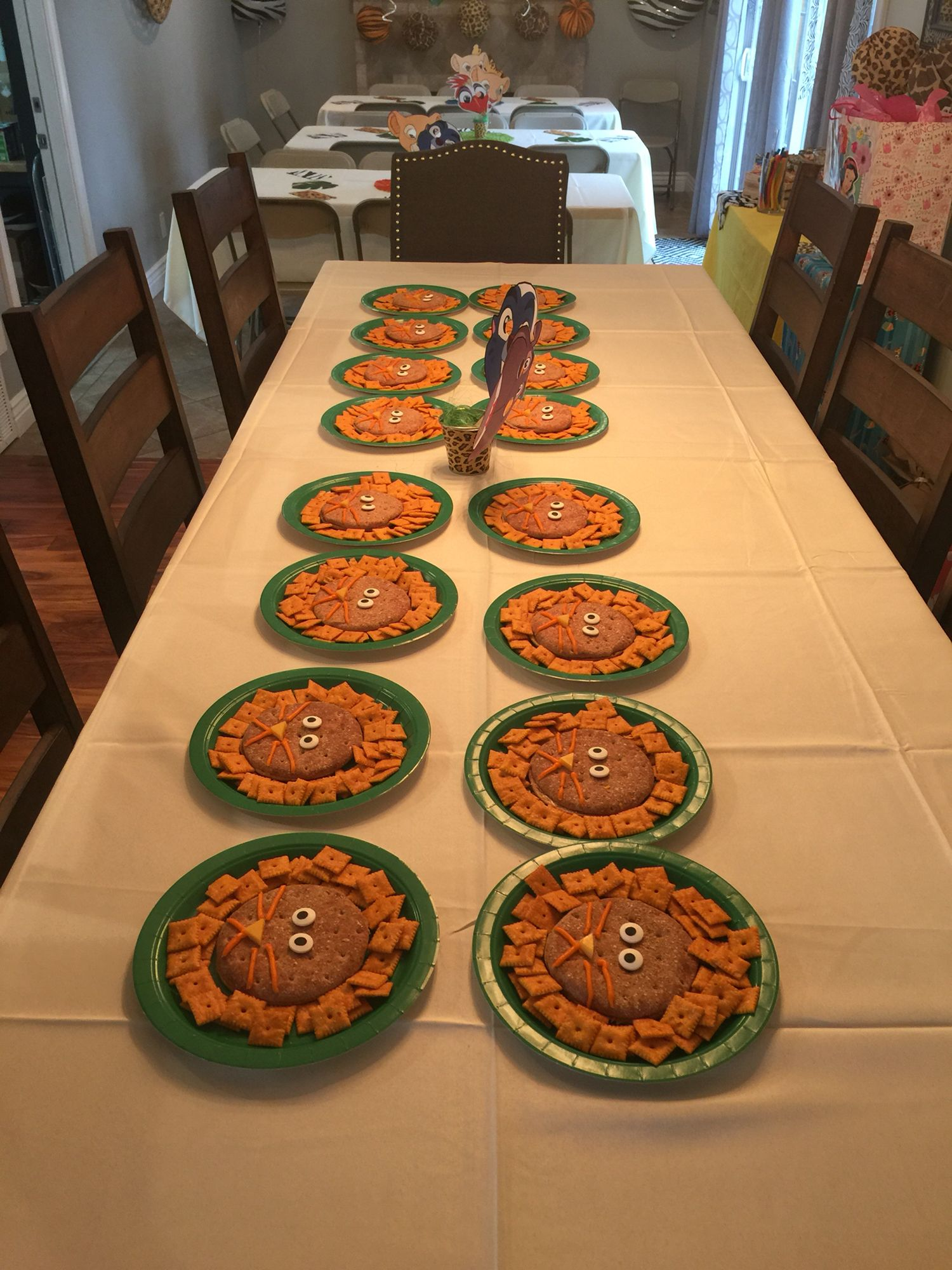 This was so cute and all edible decorated kids plates! These are Lion Guard P&J sandwiches very healthy and Cheez its.