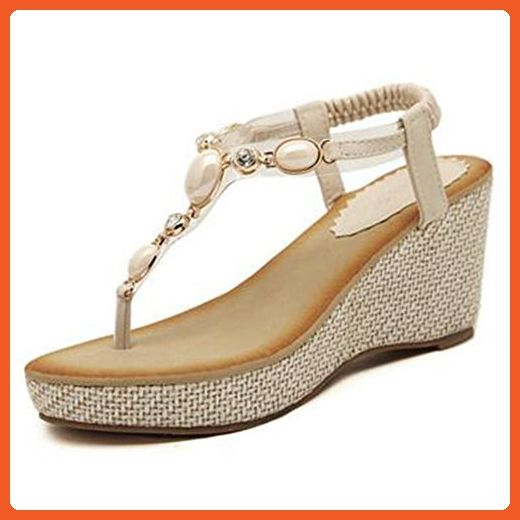 9ff37972b733e Summerwhisper Women s Trendy Bohemian Rhinestone T-Strap Wedge High Heel  Thong Sandals Beige 8 B(M) US - Sandals for women ( Amazon Partner-Link)