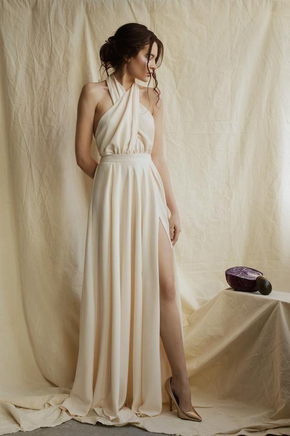Minimalist wedding dress grecian simple modern dress two piece bridal sexy gown bohemian minimalistic boho dress with open back #grecianweddingdresses