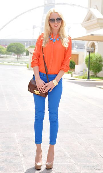 orange and blue | Summer fashion, Clothes, Fashion