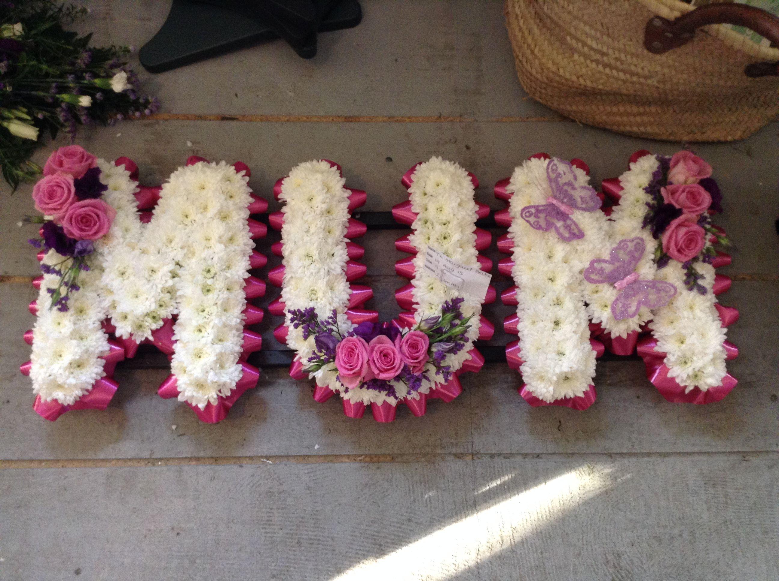 Funeral flowers mum funeral flower letters flowers for mums funeral flowers mum funeral flower letters flowers for mums funeral pink and white dhlflorist Gallery