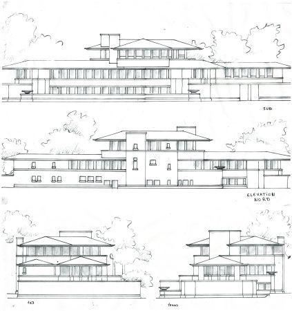robie house frank lloyd wright chicago il usa 1906. Black Bedroom Furniture Sets. Home Design Ideas
