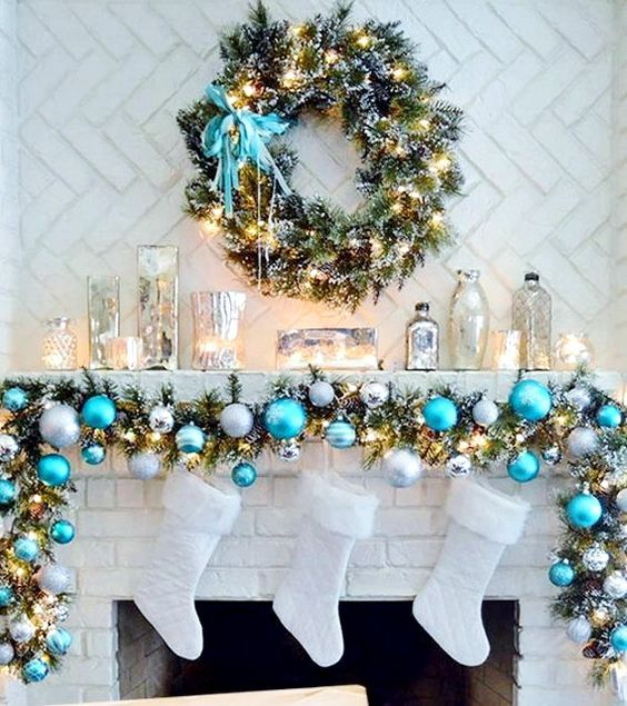 Blue Silver And White Christmas Garland And White Stockings Never