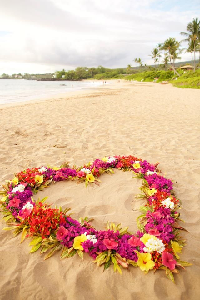 "Heart shaped flower ""circle"" for the beach wedding ""I dos"" - wedding photography by Anna Kim Photography : Maui, Hawaii"