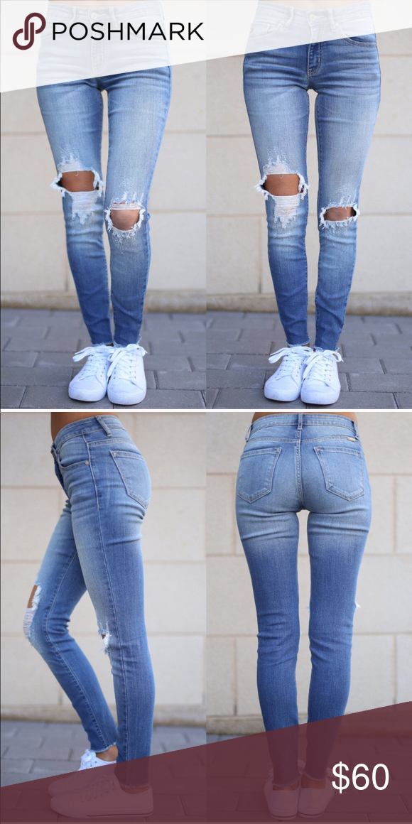 2d417c9df9e Distressed light color skinny jeans Light wash jean with distress in knees  Jeans Skinny