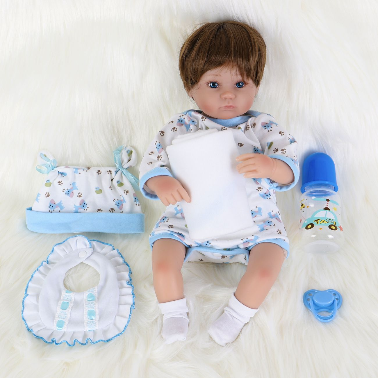 ENA Reborn Baby Boy Doll Realistic Silicone Vinyl Baby 10 inch Soft Body Lifelike Doll Gift Set for Ages 3+ 10 inch, Open Eyes Blue boy