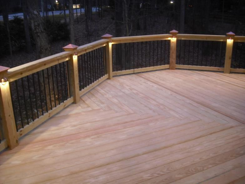 Deck construction raleigh lake time pinterest deck this deck features a low voltage lighting system with wiring hidden throughout the railing these can be installed on a switch mozeypictures Gallery