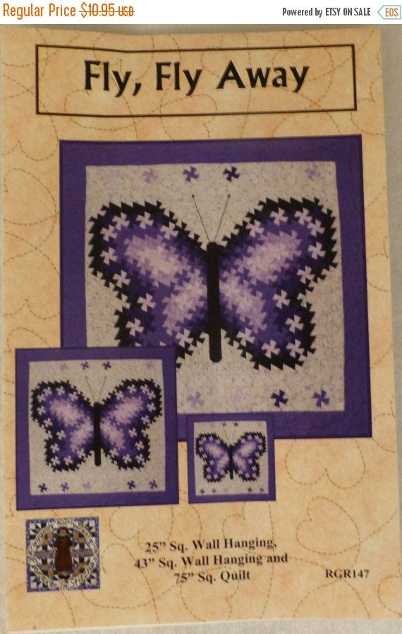 BLACK FRIDAY SALE Pattern - Fly, Fly Away - Beautiful Butterfly,Three,Sizes using the Primitive Pinwheels, the Itty Bitty Twister, and the