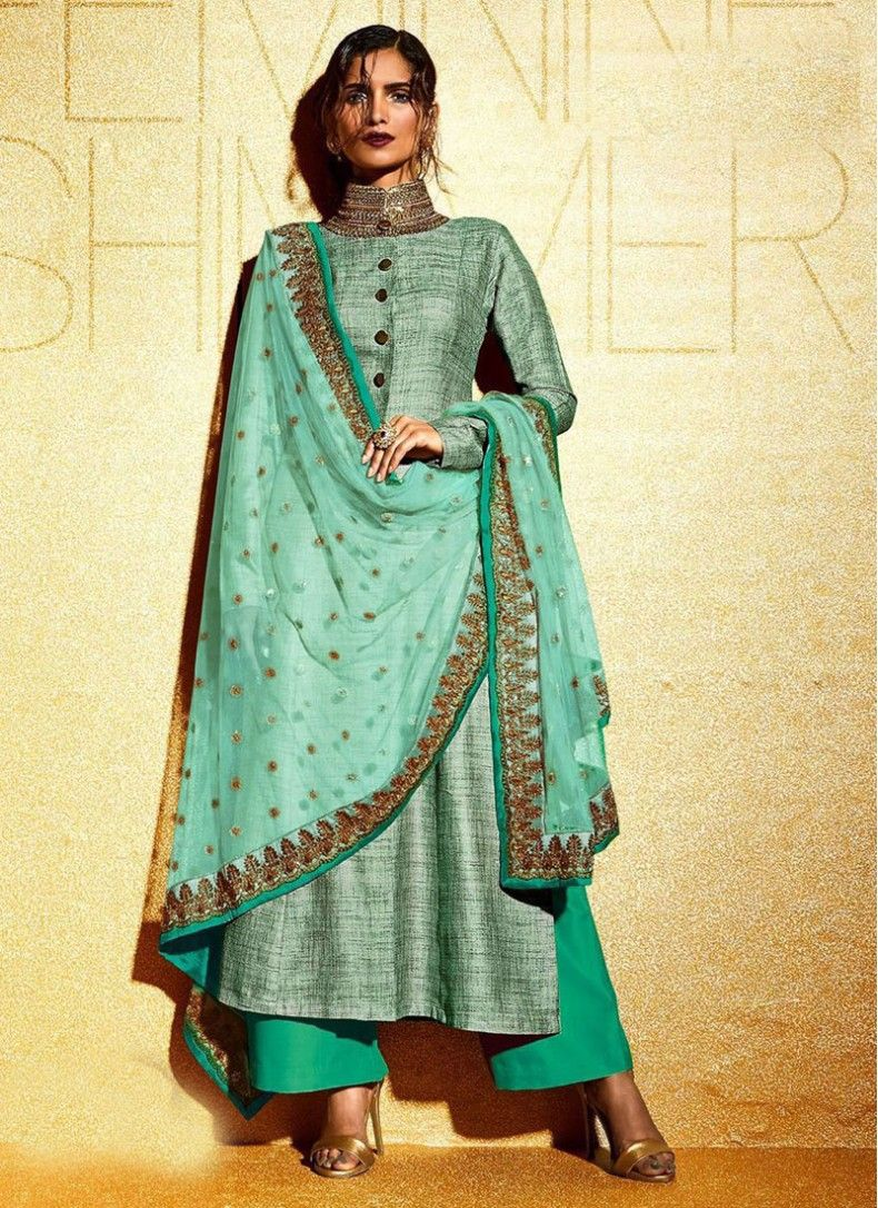 Shirt design with plazo - Sea Green Khadi Patch Border Designer Palazzo Salwar Suit
