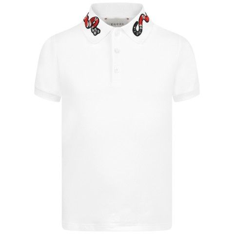 b81cec54291 GUCCI Boys White Polo Top With Embroidered Snake Collar