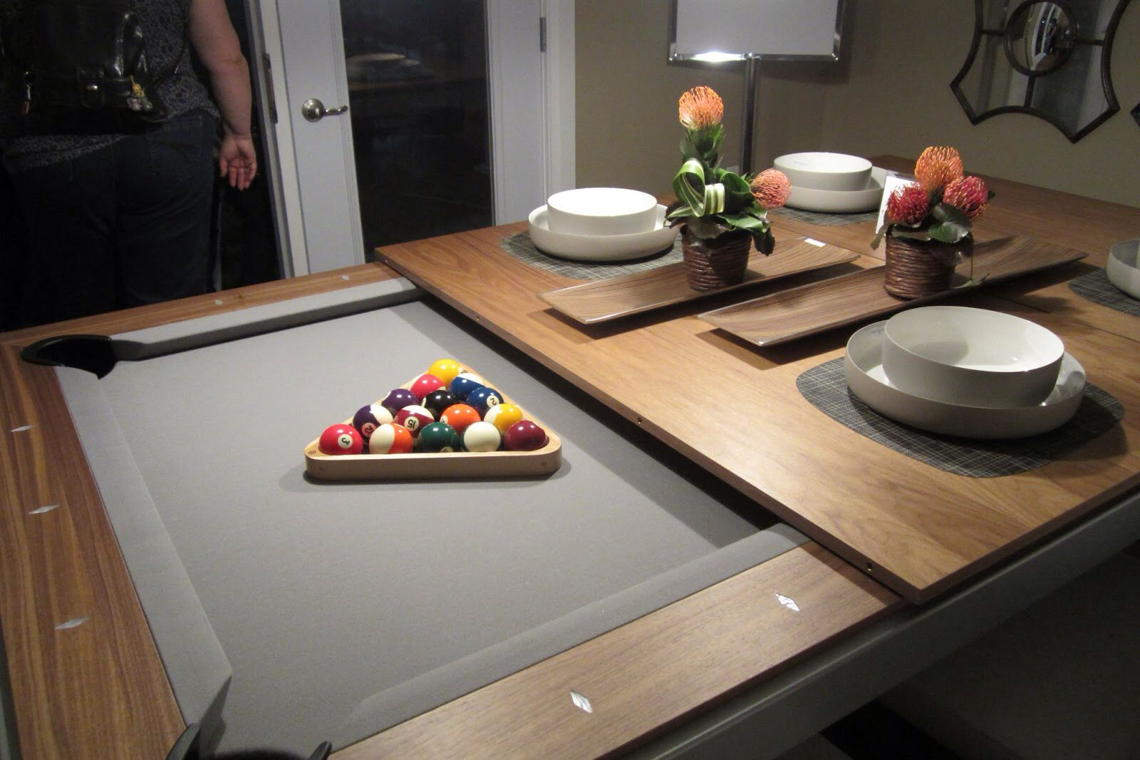 Pool table dining top AWESOME! That is what I want for
