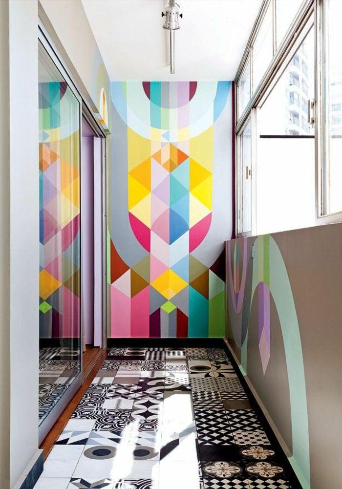le papier peint g om trique en 50 photos avec id s leroy merlin merlin et tapisserie. Black Bedroom Furniture Sets. Home Design Ideas
